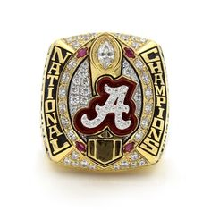 Real Handmade Gold plated Alabama Crimson Tide 2015 National Championship Ring With Red Rubies with several red rubies, hundreds of sparkling clear cubic zirconias, crimson and black enamel. It is a special meaningful gift to your Alabama Crimson Tide College Football Championship, Championship Football, Championship Rings, National Championship, Crimson Tide Football, Alabama Football, Alabama Crimson Tide, Nba Golden State, College Rings