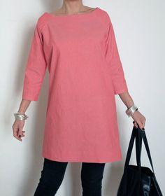 Short Tunic Cotton Dress Raglan Sleeves Cotton by atelierPop