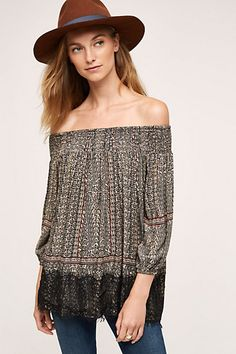 Augusta Top #anthropologie-I like the lace detail and print. I like that it's off-the-shoulder but covers the upper arms.