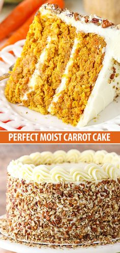Carrot Cake BEST Carrot Cake - moist, tender and easy to make! It's covered in cream cheese frosting for a perfect, classic cake!BEST Carrot Cake - moist, tender and easy to make! It's covered in cream cheese frosting for a perfect, classic cake! Just Desserts, Delicious Desserts, Dessert Recipes, Yummy Food, Dinner Recipes, Dessert Blog, Easy Carrot Cake, Moist Carrot Cakes, Classic Carrot Cake Recipe