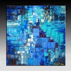 Pintura abstracta enorme artista profundo lienzo por art53 en Etsy