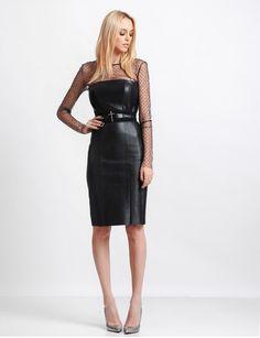 MANURÍ corset leather dress with double belt   MANURĺ