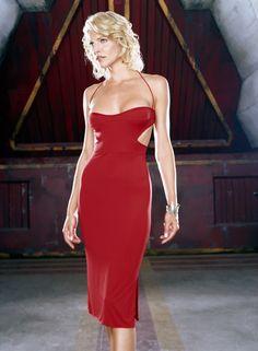 Tricia Helfer's Caprica Six red dress