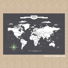 World Map Art INTERACTIVE Family Map // Mark the por PaperRamma