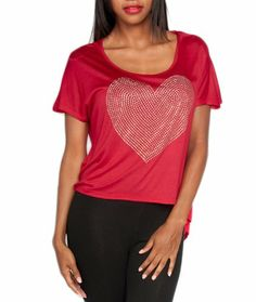 Red Short Sleeve Gold Studs Ripped Back Top