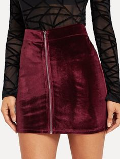 To find out about the Zip Front Velvet Bodycon Skirt at SHEIN, part of our latest Skirts ready to shop online today! Grunge Outfits, Fall Outfits, Bodycon Fashion, Skirt Fashion, Boho Gypsy, Punk Pants, Teen Fashion, Fashion News, Fashion Trends