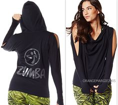 ZUMBA FITNESS Super Soft!! COLD SHOULDER JACKET HOODIE-Thumb hole in Cuff S M L #Zumba…
