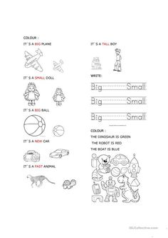 Big and small Toys - English ESL Worksheets for distance learning and physical classrooms