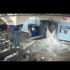 NYC Sandy hurricane flooded in Metro station