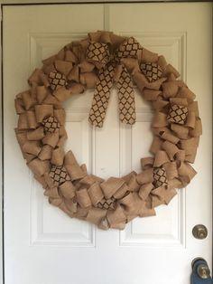 "Burlap and Quatrefoil 24"" Wreath by TheWhiteBow on Etsy https://www.etsy.com/listing/242682742/burlap-and-quatrefoil-24-wreath"