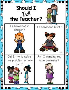 'Should I Tell the Teacher' Poster FREE 'Should I Tell the Teacher' Poster by Easy Peasy Lemon Squeezy Classroom Rules, First Grade Classroom, Classroom Community, Future Classroom, Classroom Ideas, Preschool Classroom Setup, Preschool Teachers, Classroom Behavior Management, Class Management