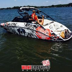 This boat wrap looks sick on the water in & Thx Wake… Ski Boats, Baja Boats, Wakeboard Boats, Center Console Boats, Row Row Your Boat, Boat Wraps, Boat Stuff, Yacht Boat, Boat Design