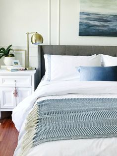 Calming blue and white master bedroom #bedroom #bedroomdecor #bedroominspo #bedroomideas