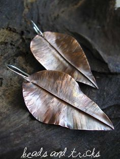 Copper leaf earrings by Beads and Tricks