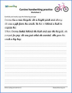 Cursive Handwriting Worksheet on handwriting sentences | writing ...