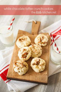 White Chocolate Toffee Crunch Cookies [The Little Kitchen]