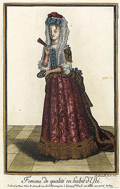 Nicolas Arnoult (France, circa 1671 - 1700)   Recueil des modes de la cour de France, 'Femme de Qualité en Habit d'Esté', 1687