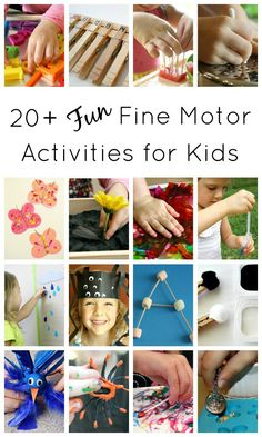 Fun Fine Motor Activities for Kids.includes over 20 ideas for strengthening fine motor muscles through play activities Fine Motor Activities For Kids, Motor Skills Activities, Gross Motor Skills, Toddler Activities, Preschool Activities, Outdoor Activities, Fun Learning, Barn, Pre Writing