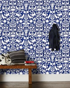 Traditional Mexican Otomi Navy Wallpaper 3