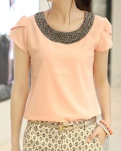 Ladylike Scoop Neck Short Sleeves Lace Splicing Chiffon Blouse For WomenBlouses | RoseGal.com