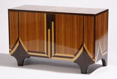 Mid to late 20th century American Art Deco style parquetry inlaid double door cabinet, the zebrawood ground with contrasting stripes and geo...