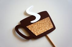 Photo Booth Props - Hot Chocolate, Coffee on a stick - GLITTER Photobooth Props. $5.00, via Etsy.