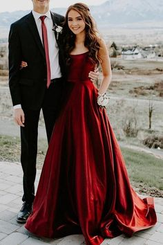 A-line Straps Wine Red Long Prom Dress
