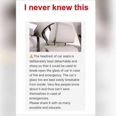 Make sure yours is detachable- if not get one of those pens that has a window breaker on the end and keep it on your dash just in case Survival Life Hacks, Survival Tips, Survival Skills, Simple Life Hacks, Useful Life Hacks, Lifehacks, Ideas Prácticas, Car Hacks, Car Life Hacks