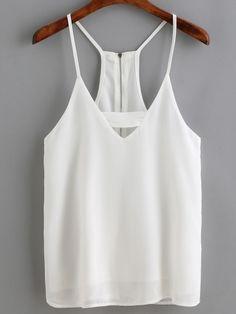 d548f2ddc5477 White Spaghetti Strap Zipper Back Cami Top