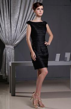 beaded bateau cap sleeve black satin natural waist mini cocktail dress - Wegodress.com