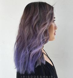 Lavendel Haarfarbe Ideen 50 Cool Ideas of Lavender Ombre Hair and Purple Ombre Brown To Purple Ombre, Brown Ombre Hair, Pastel Purple, Ash Brown, Ash Blue Hair, Grey Ombre, Gray Hair, Balayage Violet, Balayage Hair