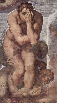 Michelangelo: Detalhe do Juízo Final, Capela Sistina, Vaticano. Michelangelo…