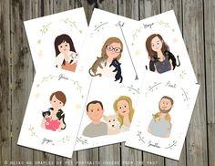 Custom Portraits, You and your pet together- Pet owner and Pet portrait, Print, Illustration, art. $68.00, via Etsy.