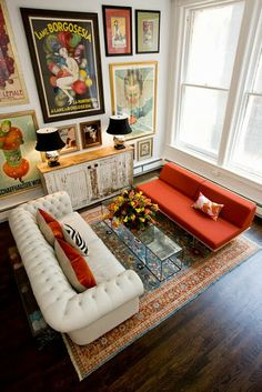 vintage posters, wall art, living rooms, couch, gallery walls, high ceilings, live room, oriental rugs, art walls