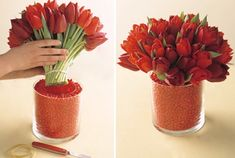 Red flowers, turquoise candy or rocks.  http://www.weddingsbylilly.com/wp-content/uploads/2012/07/wedding-centerpiece-ideas.001.jpg