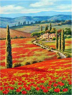 I plan to paint a tuscan scene and need inspiration for Disegni di paesaggi colorati