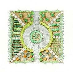 Geometric potager similar to ours! Like green border around circle!
