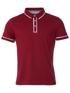 Industrialize Mens Maroon Jack Pided Contrast Detail Polo Shirt