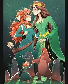 Merida and her mother Queen Elinor from Disney's Pixar Brave Disney Pixar, Film Disney, Disney Nerd, Arte Disney, Disney Fan Art, Disney And Dreamworks, Disney Love, Disney Magic, Punk Disney