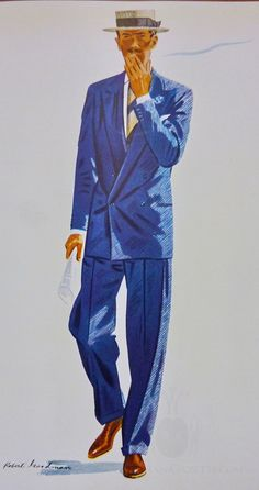 Robert Goodman: Apparel Arts 1939 Blue Spring Suit - Double Breasted