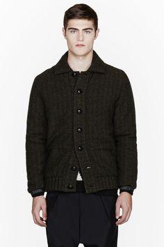 SACAI Green wool herringbone twill Jacket