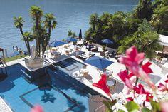 Florida? No, Switzerland!  Swimming pool in Swiss Diamond Hotel, Vico Morcote (Tessin).