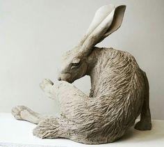 Pottery Sculpture, Pottery Art, Ceramic Studio, Ceramic Art, Rabbit Sculpture, Pottery Animals, Rabbit Art, Bunny Art, Animal Sculptures
