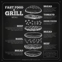 Tiré par la main menu fast-food en tableau Vecteur gratuit