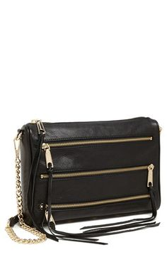 $295, Black Leather Crossbody Bag: Rebecca Minkoff Four Zip Leather Crossbody Bag Black Black White. Sold by Nordstrom. Click for more info: https://lookastic.com/women/shop_items/69993/redirect