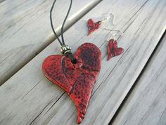 polymer clay red heart pendant