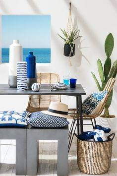 Maisons du Monde new collection: Escale tendency - Mediterranean style beach house. See the post for more tendencies and details. Coastal Homes, Coastal Living, New York Penthouse, Deco Marine, Small Accent Chairs, Mediterranean Decor, Mediterranean Architecture, Style Deco, Bedroom Chair