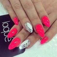 Glamorous Puce Nails with Rhinestones
