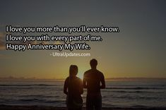 Beautiful wedding anniversary wishes status for wife in English. These romantic lines will make her day more special. Marriage anniversary status for whatsapp fb Anniversary Wishes For Wife, Marriage Anniversary, Anniversary Funny, Fb Status, Love You More Than, Romantic, My Love, Facebook, Modern
