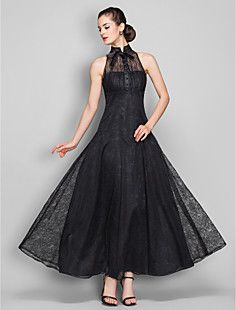 A-line High Neck Ankle-length Lace Evening Dress (699490)  – USD $ 79.29    I think this looks Audrey Hepburn like, I love the way it looks.